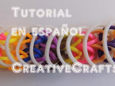 Como hacer una pulsera de gomitas LOOSE LOOPS. Rainbow Loom Bracelet Loose Loops.