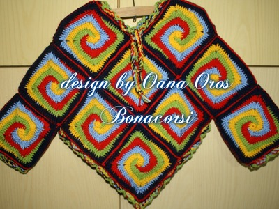 Crochet poncho with squares