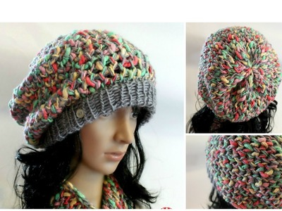 GORRO SLOUCHY Con Lana de Textura en Telar Redondo - Loom Knit Slouchy Hat in Spanish