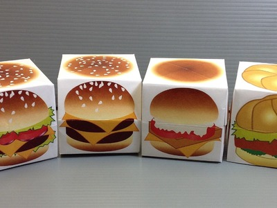 Origami Hamburgers Cube - Print Your Own