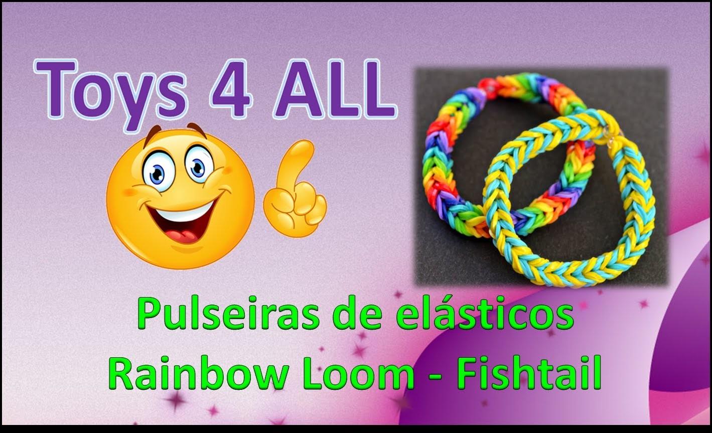 Pulseiras elasticos rainbow loom fishtail exemplos
