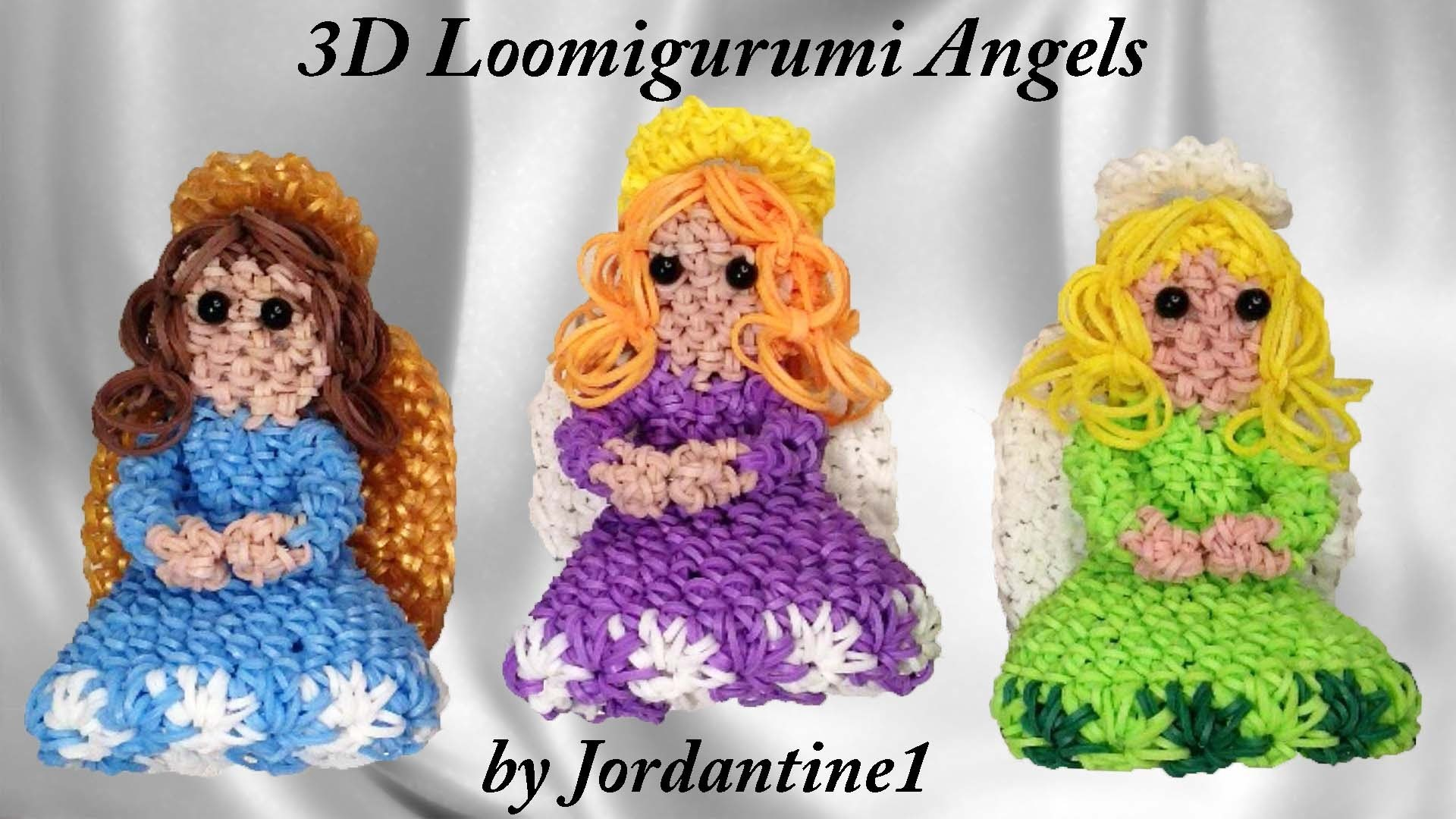 Angel Girl Loomigurumi. Amigurumi - Figure. Tree Topper - Rainbow Loom - Band Crochet - Christmas