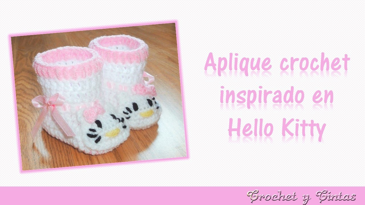 Aplique crochet (ganchillo) inspirado en Hello Kitty