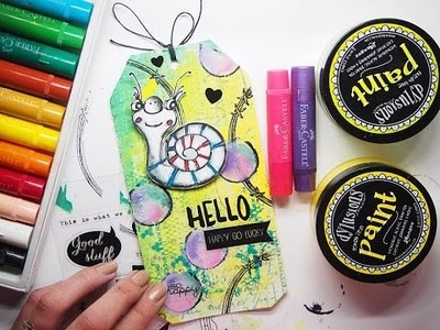 Coloured Tag 'Hello' TUTORIAL for Craft Stamper Magazine challenge with Dylusions, Gelatos