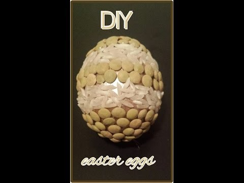 Easter eggs DIY rice and pasta craft tutorial