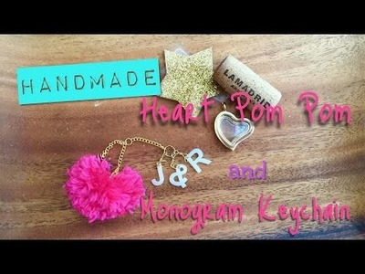 Easy Valentines Day Craft: DIY Heart Pom Pom and Monogram Key Chain