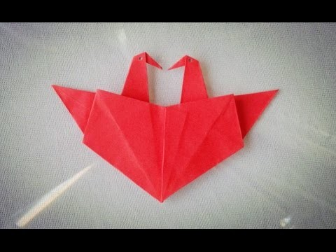 Heart with two cranes - origami - craft tutorial