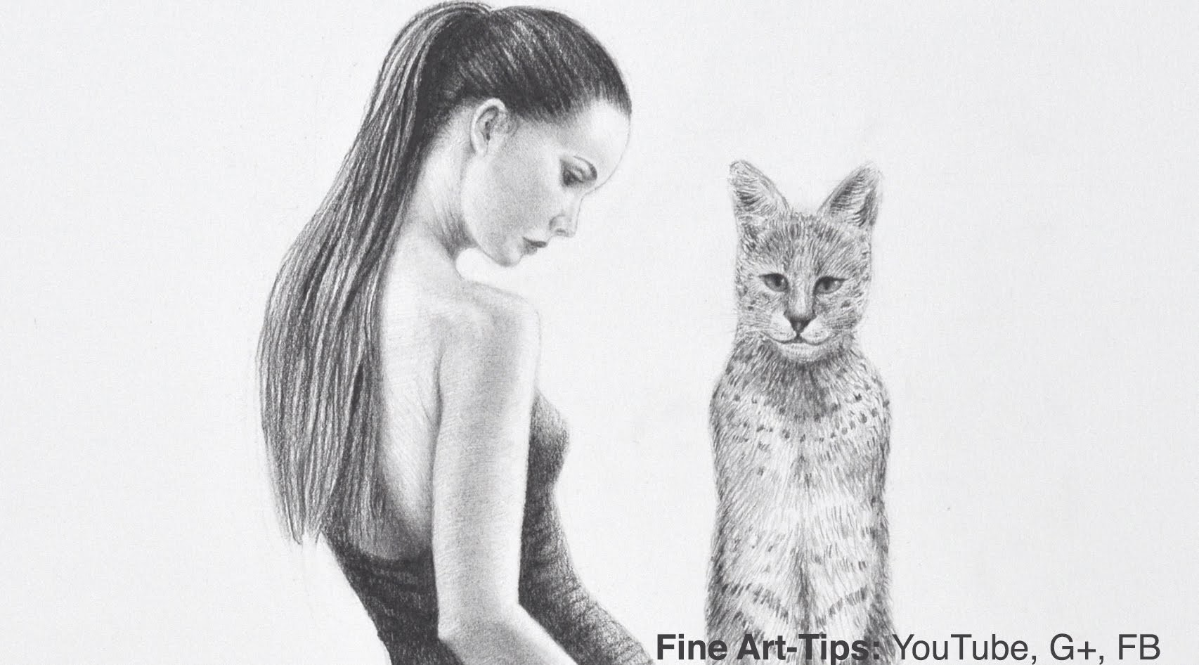 How to Draw a Serval & Woman - Beautiful Girl With Big Cat