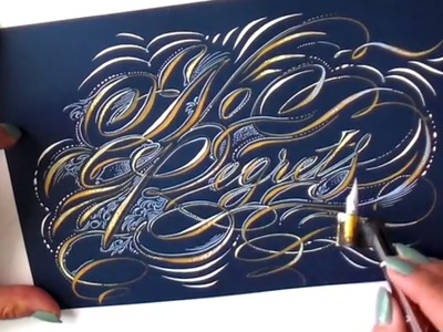 Illustrated Calligraphy with flourishes and designs