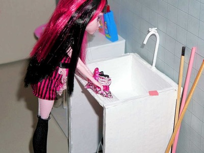How to make laundry sink for doll (Monster High, EAH, Barbie, etc)