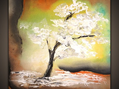 White Tree, how to paint a tree simple abstract art painting techniques by Peter Dranitsin