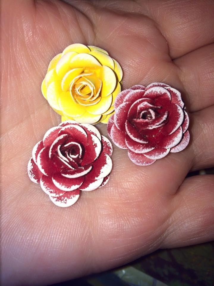 Hoe om papier rosies te maak.how to make paper roses,