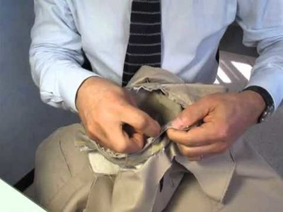 Hand sewing sleeve by Adriano Bari. Manche de veste cousue main