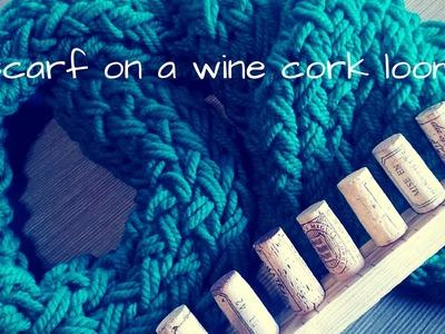 A scarf on a wine cork loom 1