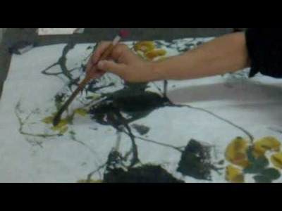 Chinese Brush Painting-leaves formed with flipping rice paper (2-pumpkin)