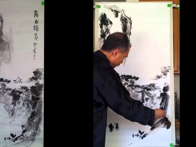"Chinese Landscape Painting Practice on a Whole Sheet Triple Xuan Rice Paper 27""x57"""