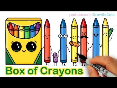 How to Draw a Cartoon Box of Crayons Cute and Easy