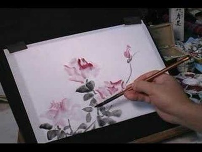 How to draw roses wet-into-wet on rice paper