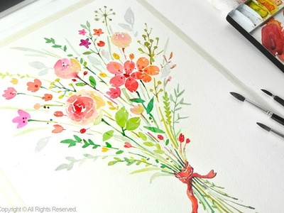 How to paint a flower bouquet with watercolors - Jay Art