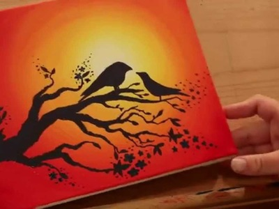 How to Paint LOVEBIRDS in a SUNSET  - STEP by STEP
