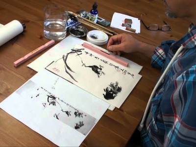 Painting Frogs in Sumi on Rice Paper and Dry Mount it on a Silk Hanging Scroll with Silicone Paper
