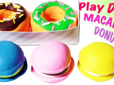 Play Doh Macaron Donuts Cake Cookies Cupcake Kids Dough Kitchen Fun Playdough Toys Playsets Games