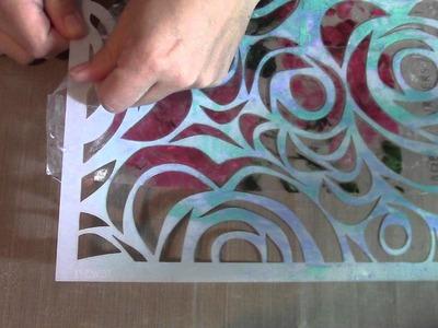 Art Journal Stencil Mixed Media Packing Tape Transfer