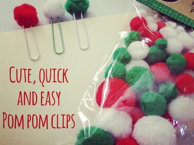 Cute, Quick And Easy Pom Pom Clips!
