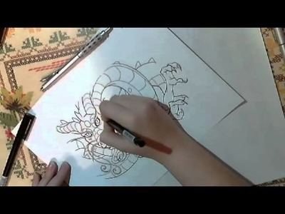 Drawing an Oriental dragon part 3