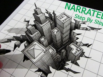 How to Draw a 3D City Optical Illusion: Narrated Step by Step