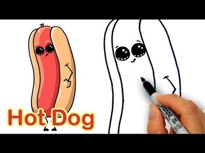 How to Draw a Cartoon Hot Dog and Bun Easy and Cute