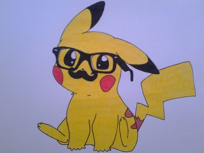 How to draw a cute Pikachu, with hipster glasses and mustache