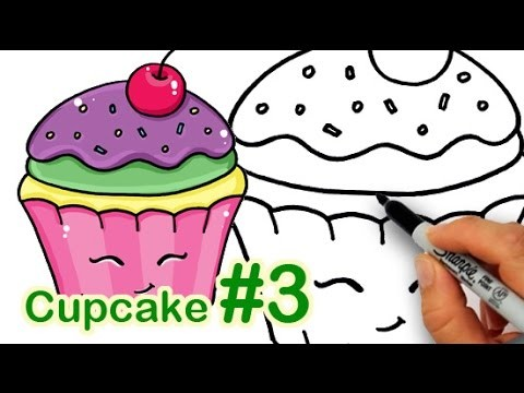 How to Draw a Happy, Cute Cupcake #3