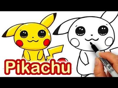 How to Draw Pokemon Pikachu Cute step by step