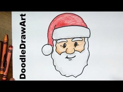How To Draw Santa Claus Face! Step by Step Lesson cartoon easy beginners - with coloring page