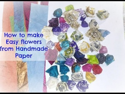 How to make easy SMALL PAPER ROSES from handmade paper. DIY Paper roses. Tutorial
