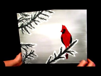 How to paint a cardinal in the snow (WINTER scene)