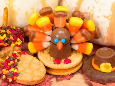 No Bake Thanksgiving Cookies: Oreo Candy Corn Turkeys, Rolo Pilgrim Hats & Nutter Butter Acorns