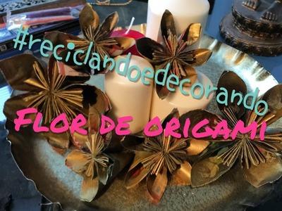 #Reciclandoedecorando- DIY- Flor de origami feita de jornal- Decorando para o Natal