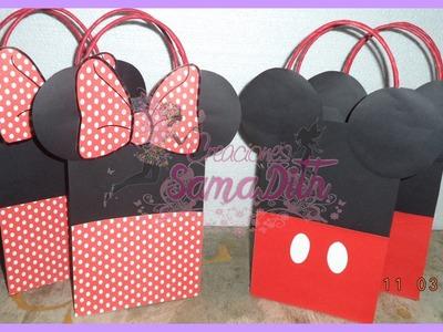 Como hacer Bolsa Sorpresa Mickey y Minnie Cartulina - Bag Cardboard DIY