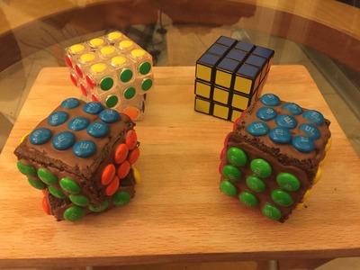DIY Rubik M&M's Cube Cake - Pastelito de Rubik y M&M's