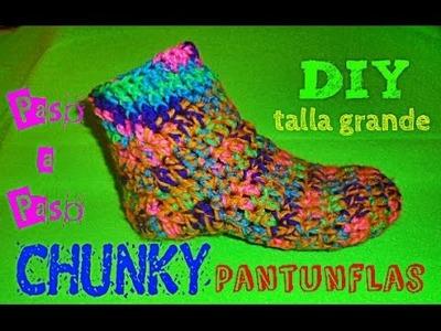 Chunky Pantunflas para Adulto!! TEJIDAS A CROCHET