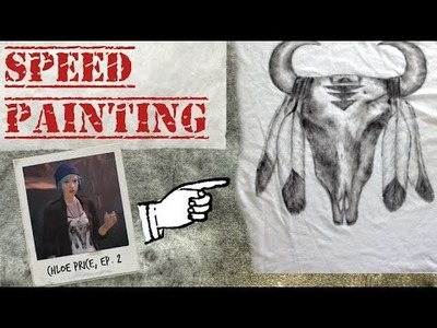 DIY Tribal Skull & Feathers Painted Shirt [SPEED PAINTING] ~ Life is Strange Inspired