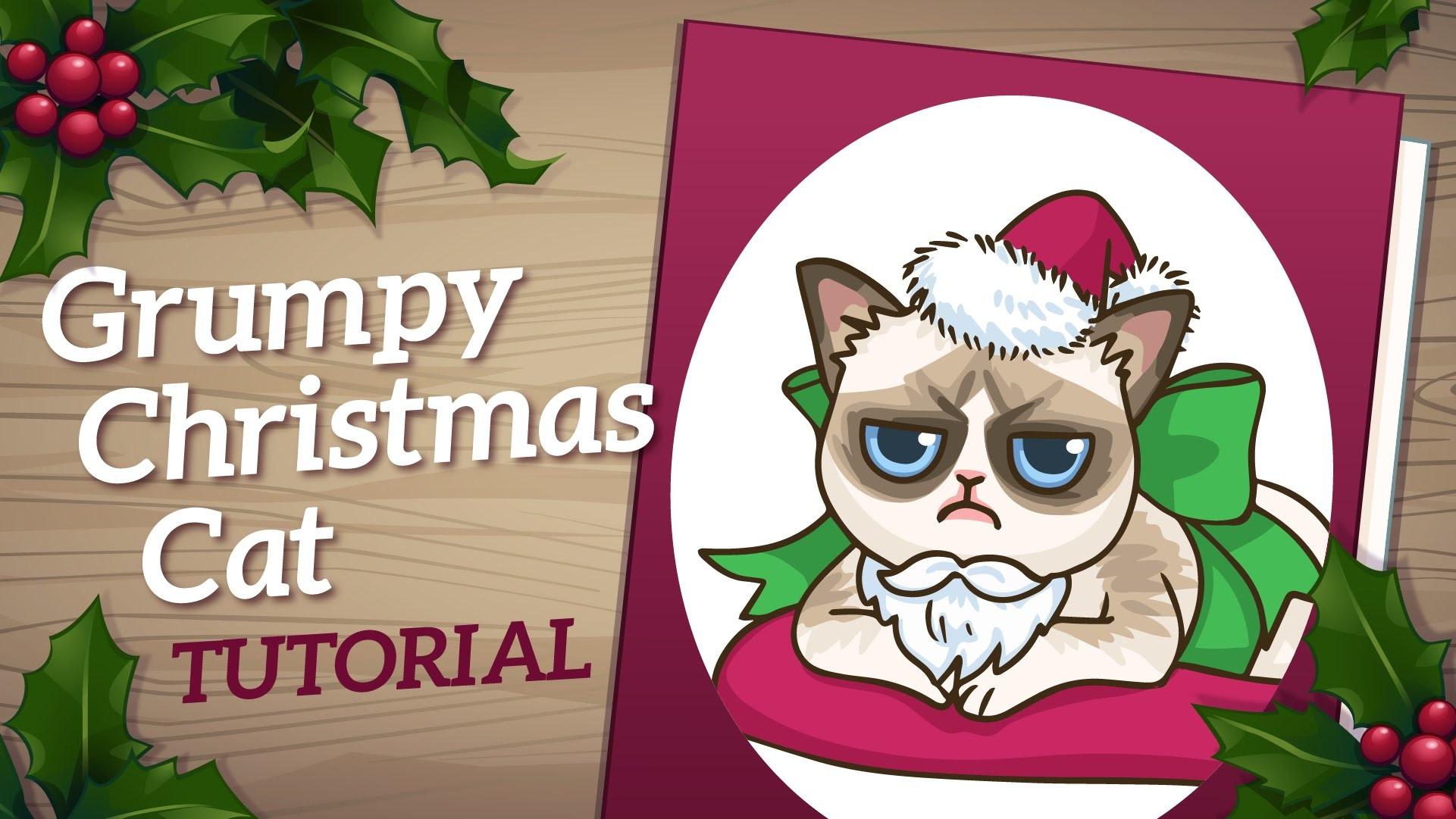 Grumpy Cat Art Tutorial - How to Draw Christmas Card Art