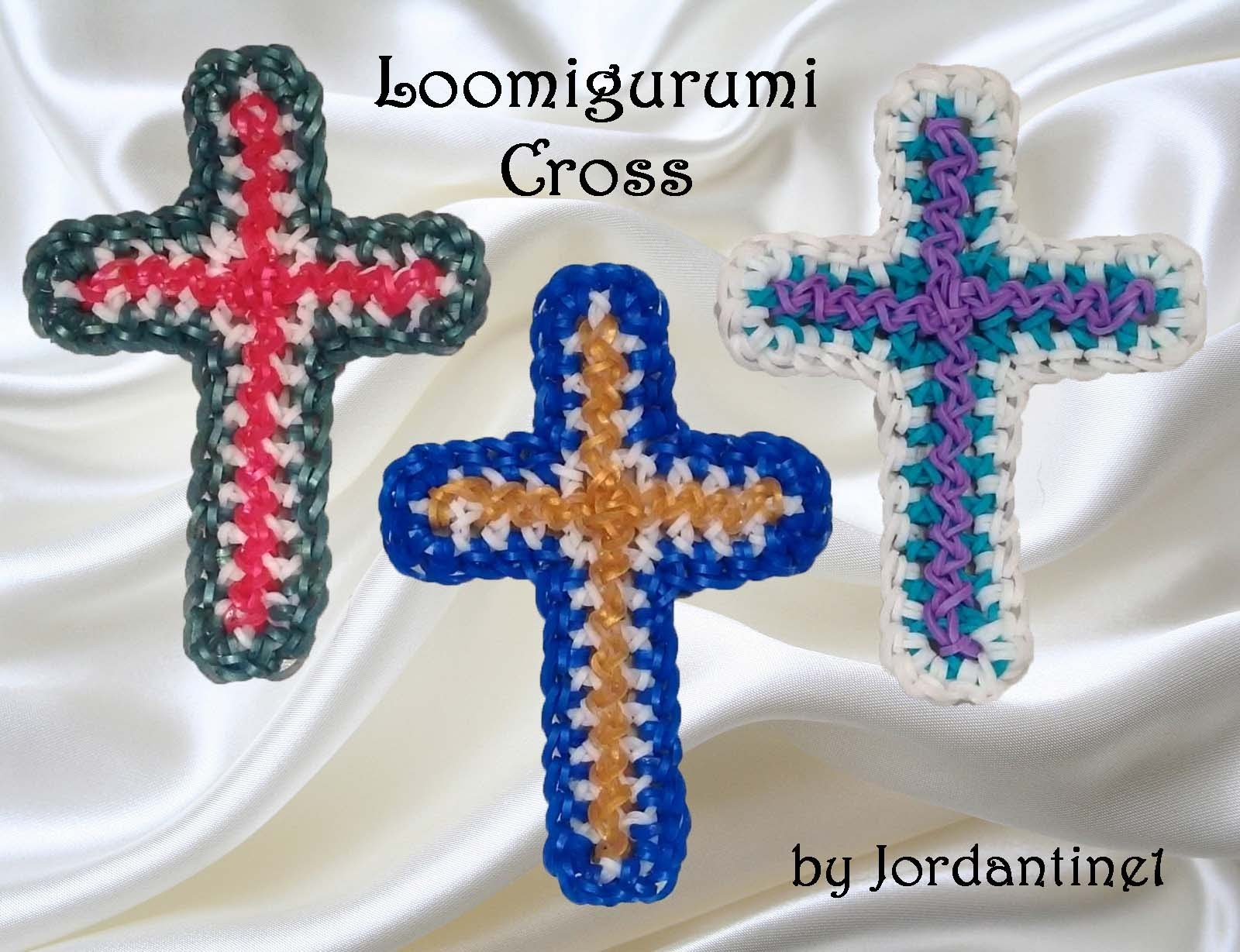 New Loomigurumi Cross - Rubber Band Crochet - Easter. Christmas Religious - Rainbow Loom - Hook