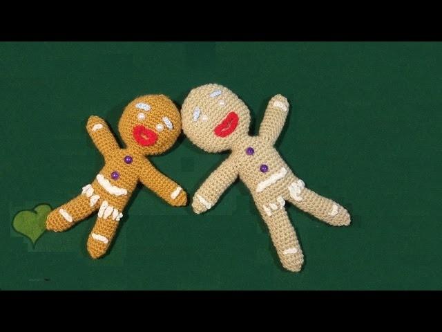 Omino biscottino pan di zenzero all'uncinetto tutorial ginger bread man crocheted