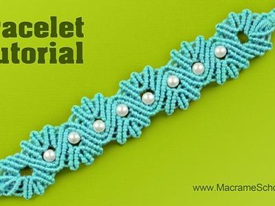 Yarn Shell Bracelet with Pearls | Tutorial by Macrame School