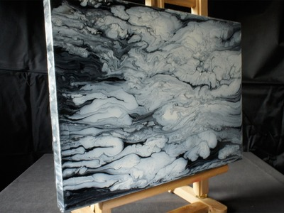 Acrylmalerei Demo, Fluid Acrylic Painting, Black, White, Clouds, Abstract Art by Brigitte König