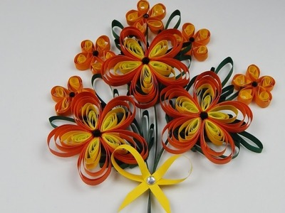 How to make a  quilling flower bouquet  2D quilling flowers  DIY (tutorial + free pattern)