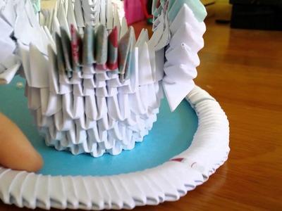3D origami wedding gift. Swan lake